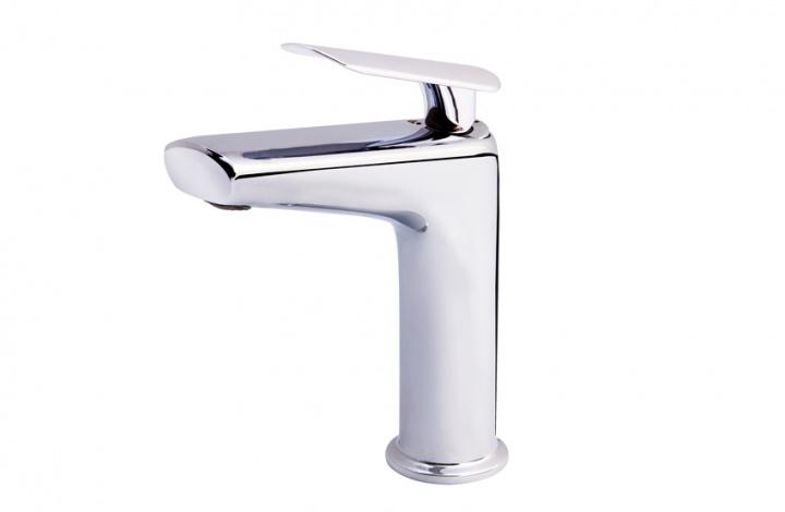Grifo monomando lavabo para instalación en repisa, serie Kily de Griferías Galindo. Con desagüe automático. Cromo