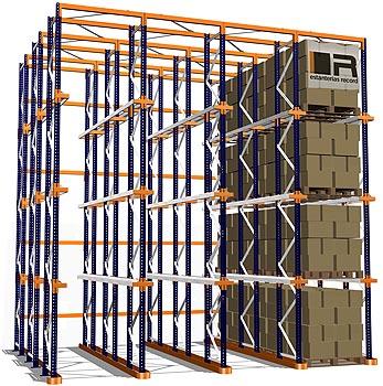 el resultado es un sistema denso de distribucin de paletas configurado en calles que permiten la penetracin de las carretillas elevadoras para depositar - Estanterias Record