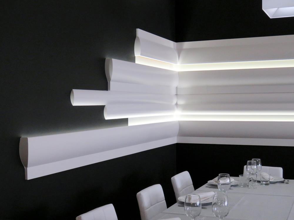 Orac decor da un estilo futurista al nuevo restaurante tasta m - Cornisa para led ...